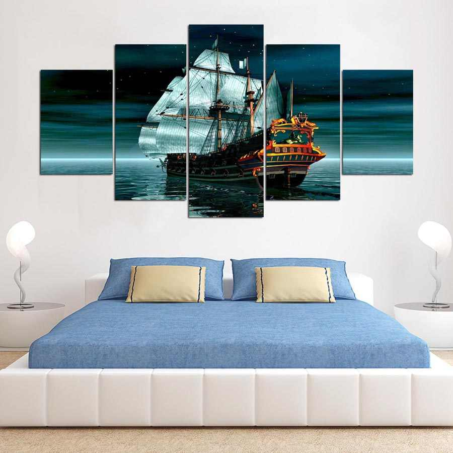 Modern Wall Decor Poster HD Printed 5 Panel Ship Boat Canvas Art Painting Seascape Artwork Wall Pictures For Living Room