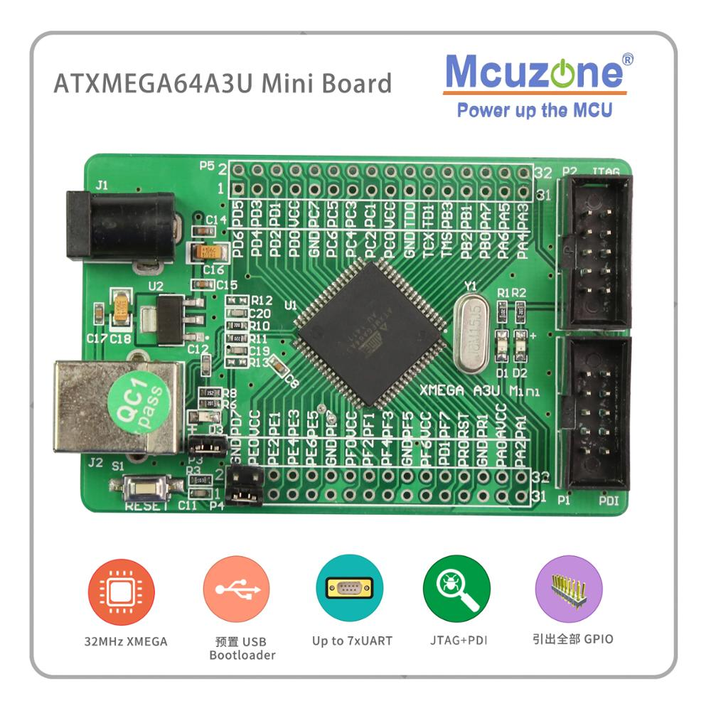 ATxmega64A3U Mini Board USB PROGRAM PDI JTAG XMEGA64A3 U 64A3U AVR ATMEL MICROCHIP