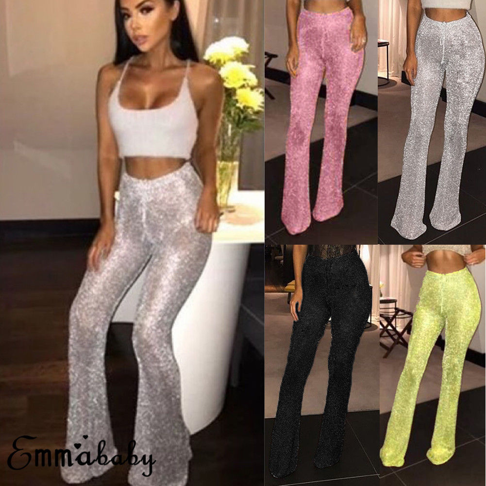 New Women Fashion Casual Flare Glitter Sequin Pants High Waist Bottom Pants Disco Pants