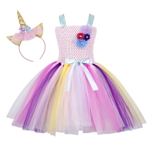AmzBarley Unicorn Rainbow Girls Tutu Outfits Fluffy Tulle Dress Sleeveless Birthday Party Fancy Costumes