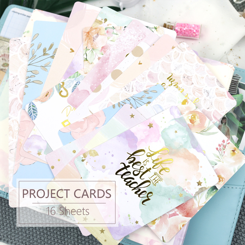 MyPretties 16PCs Project Life Cards Memo Cards For Scrapbooking DIY Projects / Photo Album / Card Making Crafts