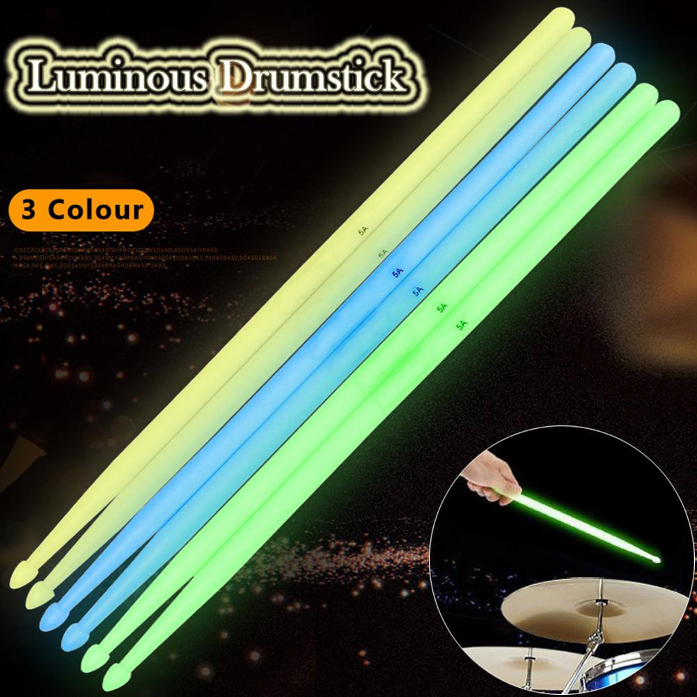 2pcs Noctilucent 5A Nylon Drum Sticks Luminous Colorful Glow Drumsticks Night Stage Performance Percussion Part Accessories