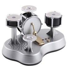 Мини-барабанная установка, барабанный светодиодный светильник, Джазовый перкуссионный сенсорный настольный электронный барабанный набор с внутренним динамиком