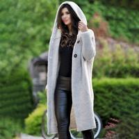 Autumn Winter Women Long Cardigan With Cap Sweater Knit Sweater Cardigan Open Front Thin Cardigans Hooded Loose Outwear