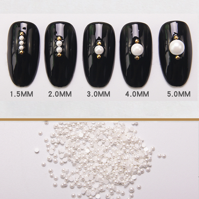 HNUIX Pearl Rhinestone Nail Decorations New Arrive Pearls for Nails Acrylic Nail Supplies 3D Acrylic Nail Art Nailart Jewelry in Rhinestones Decorations from Beauty Health
