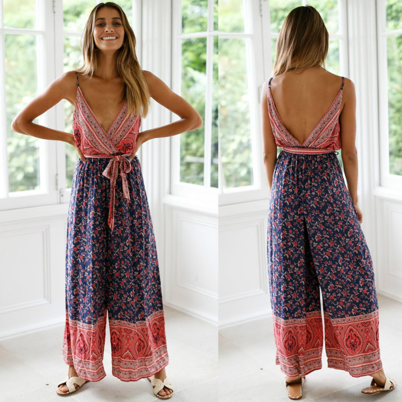 Newest HOT Women Boho V Neck Backless Sleeveless Sexy Playsuit Jumpsuit Rompers Summer Beach Casual Long Trousers