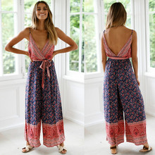 Newest HOT Women Boho V Neck Backless Sleeveless Sexy Playsuit Jumpsuit Rompers