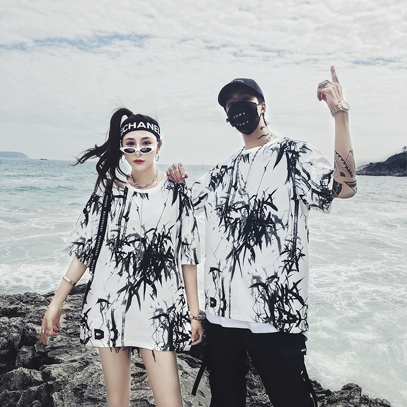 Dropshipping 2019 summer new bamboo splash ink Chinese painting short-sleeved shirt hip-hop oversized couple men women T-shirt 2
