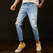 2019 Spring Summer Original Designed Man Slim Holes Jeans Fashion Stonewashed Men Slim Jeans Young Male Fashion Pants Trousers