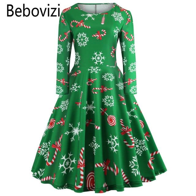 green christmas plus size long sleeve 2019 new year party dress vestido de festa girls swing