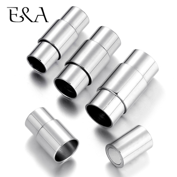 Stainless Steel Magnetic Clasp Hole 5mm 6mm 7mm Mirror Polished Leather Cord Magnet Clasps DIY Bracelet Jewelry Making Supplies stainless steel magnetic clasp hole 6mm leather cord clasps magnet buckle diy bracelet closure supplies jewelry making findings