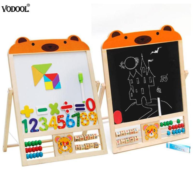 Sided Kids Wooden Blackboard Whiteboard Easel Learning Board Draw Chalkboard With Abacus Wooden Stand Teaching Stationery Set