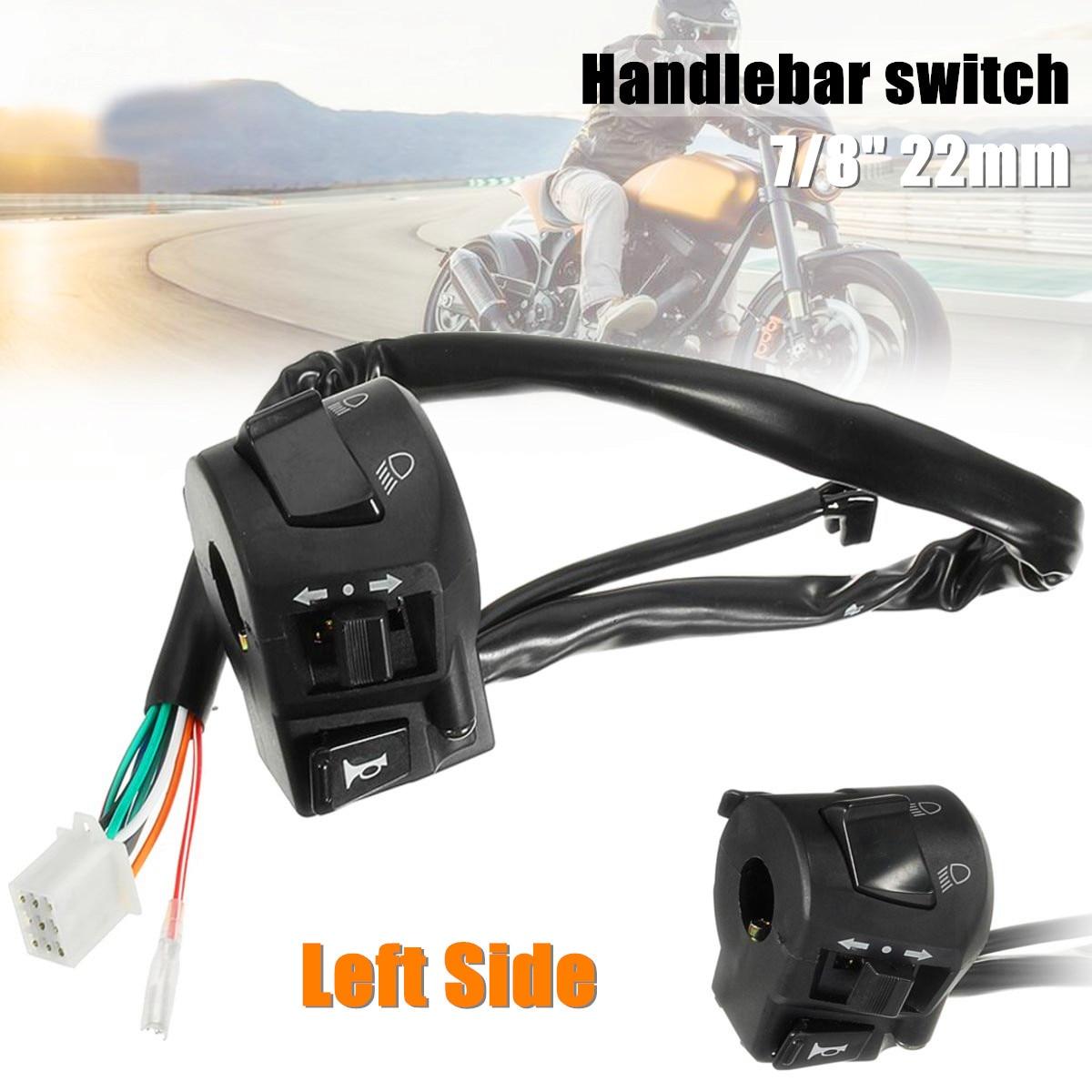12 V 7/8 pouces 22mm moto guidon clignotant klaxon salut/Lo faisceau interrupteur côté gauche
