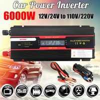 Inversor de coche 12 V 220 V 6000 W Pe ak transformador convertidor de voltaje 12 V/24 V A Inversión de 110 V/220 V + pantalla LCD