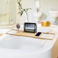 70X22X4CM Bamboo Bathtub Caddy Tray Sides Extendable Bathroom Book Pad Phone Holder Shelf Home Hotel Stand Sundries Organizer