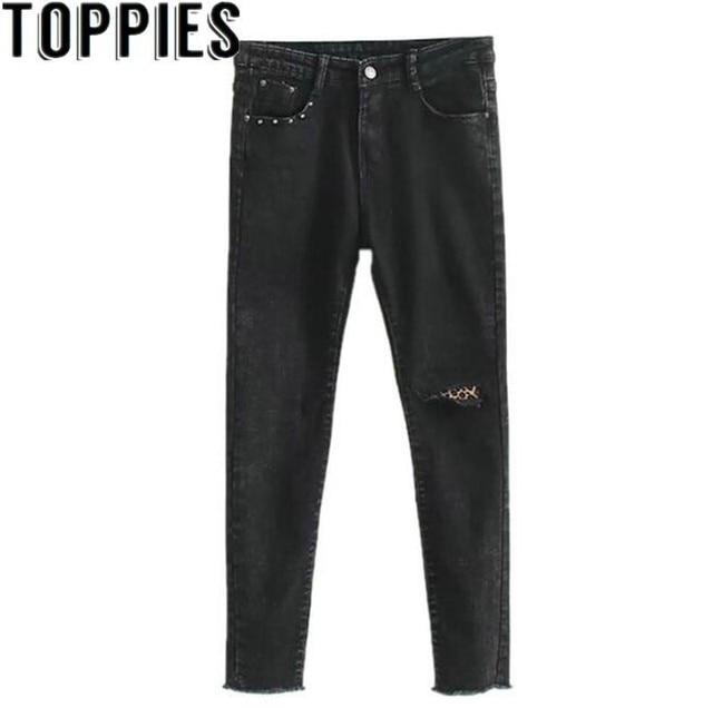 2019 חורף נשים שחור ג 'ינס עם נמר חור מסמרה דקור Slim נמתח ג' ינס עם צמר בתוך חורף חם לעבות ג 'ינס