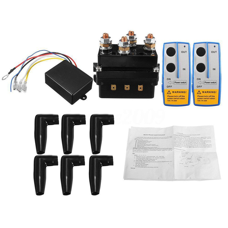 Universal 12V 500A Winch Remote Contactor Winch Control Solenoid Relay Twin Wireless Remote Recovery Car Motorcycle Accessories
