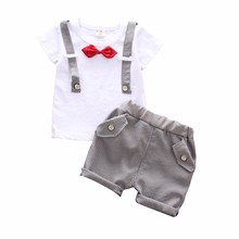 2019 New Summer Bow Clothes Baby Gentleman Strap Shape Cotton Short T Shirt 2PCS/Sets Toddler Boys Clothing Casual Kids Outfits casual summer gentleman style kids boys clothing sets cotton sling strap costume shirt short jeans boys clothes suits