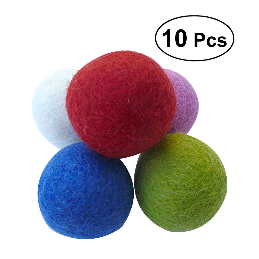 10pcs Handmade Wool Felt Balls Reusable Pet Balls Toy Decoartive Balls for DIY Christmas Decoration Craft