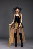 Halloween Carnival Cosplay Women Witch Costume Black Party Mesh Costumes Patchwork Adult Short Fantasia Dresses