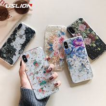 USLION Floral Silicon Case For iPhone XR XS Max X Glitter Gold Foil Lace Flower Phone Cases for iPhone 7 8 6 6s Plus Clear Cover(China)
