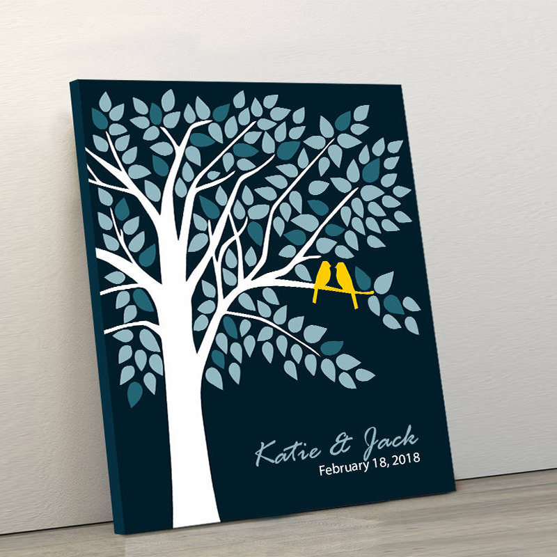 Original Wedding Guest Book Ideas: Custom Canvas Wedding Guest Book Tree, Personalized Couple