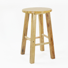 Simple Style Wooden Bar Chair Commercial Dining Stool Multifunction High Round Stool Reinforce Step Stool Retro Dressing Seat недорого