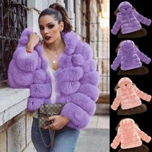 Women Hooded Fur Coat Winter Faux Fox Fur Coats Elegant Womens Plus Size Jacket High Quality Artificial Fur Coat Jacket3xl цена