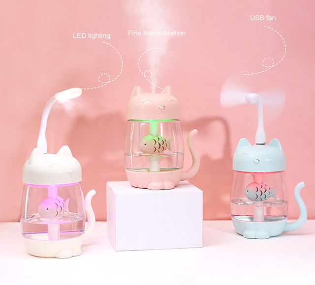 Cute Cat Air Humidifier Ultrasonic 3 In 1 Fan Aroma Essential Oil Diffuser Purifier Atomizer USB Charging LED light For Home 1