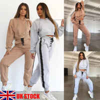 Hot Fashion Khaki Grey Women Hoodie Sweatshirt Hooded Jumper Pullover Drawstring Top Lace-Up Pants Sweatsuit Tracksuit Plus Size
