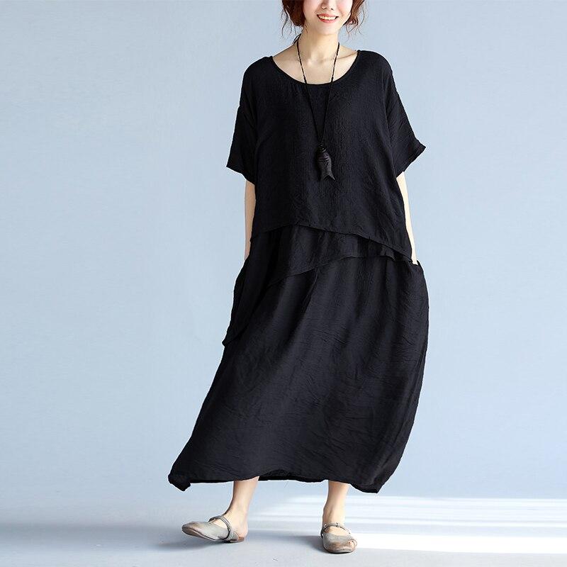 #0168 Summer Vintage Irregular Cotton linen Dress Women Plus Size Loose With Pockets Fake Two Piece Retro Dress Linen Cotton