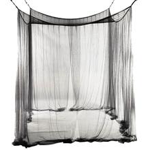 Новинка-4 Угловая кровать сетчатый Навес Москитная сетка для queen/кровать королевского размера 190*210*240 см(черный