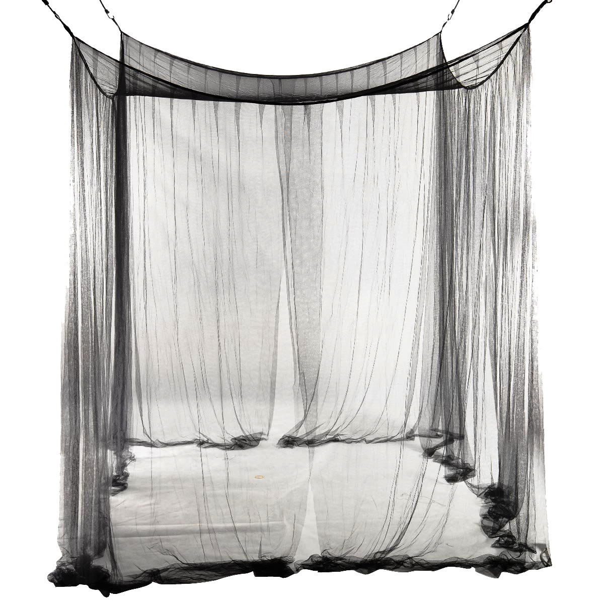 New-4-Corner Bed Netting Canopy Mosquito Net for Queen/King Sized Bed 190*210*240cm (Black)