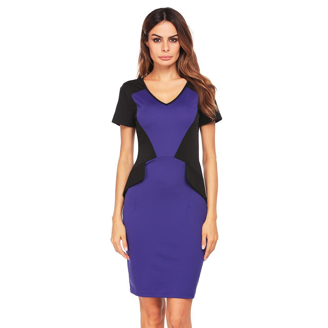 AL'OFA Elegant Party   Dress   Women Short Sleeve V-neck   Cocktail     Dresses   Patchwork Knee Length Pencil   Dress   Bodycon   Cocktail   Robe