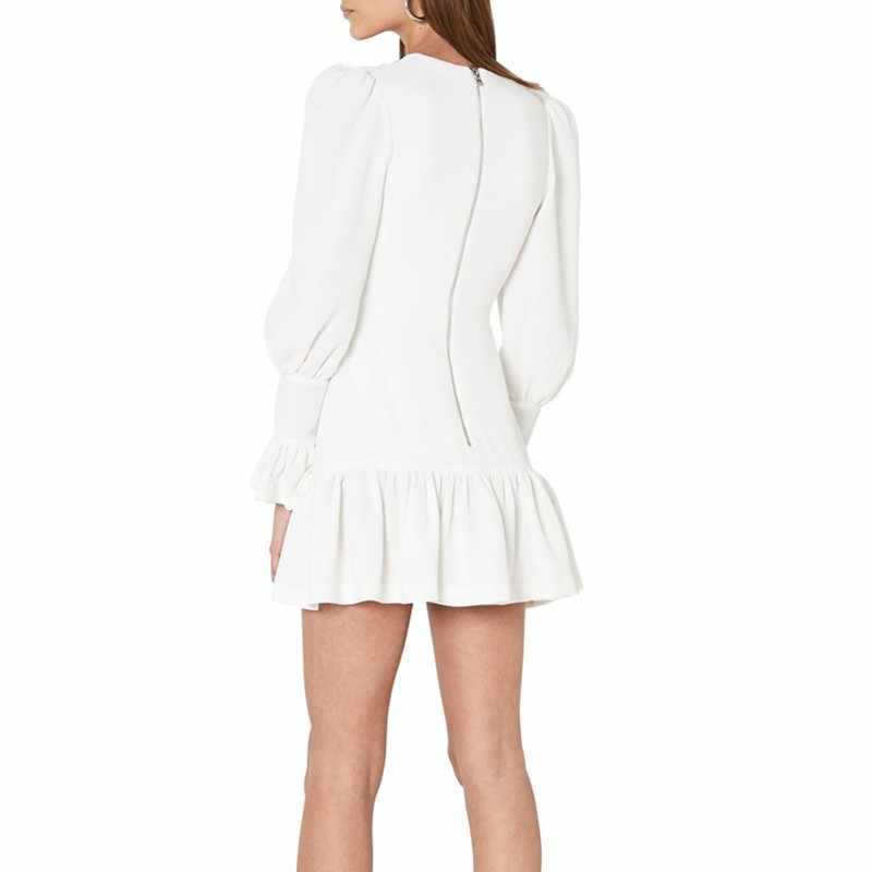 TWOTWINSTYLE אלגנטי Slim נשים שמלת V צוואר פנס שרוול גבוהה מותן ראפלס מיני שמלות נקבה אביב 2019 חדש