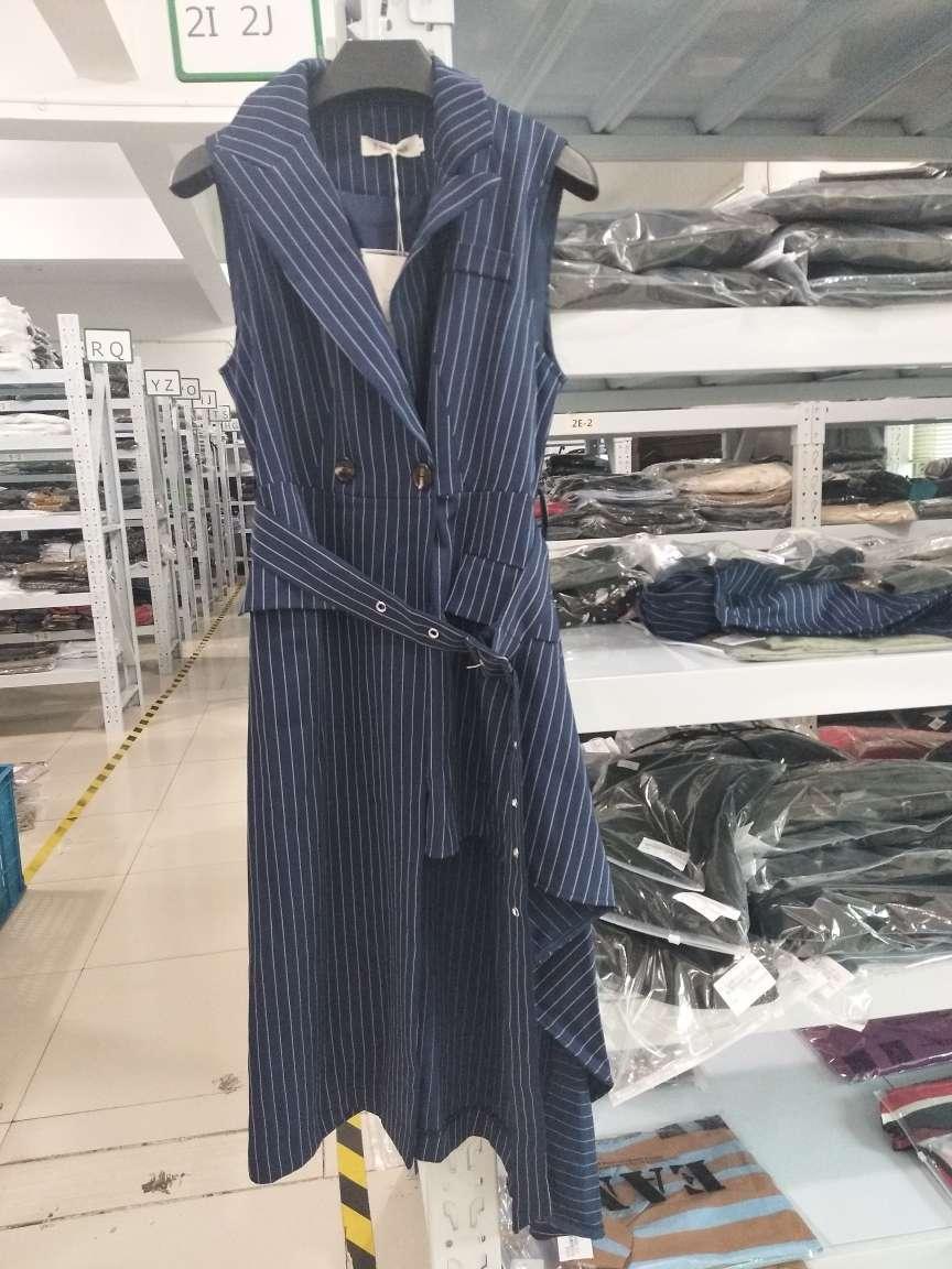 LANMREM 2019 New Fashion Blue Striped Irregular Long Suit Sleeveless Waistcoat Ankle-Length Pants Female's Two Pieces Set YG358