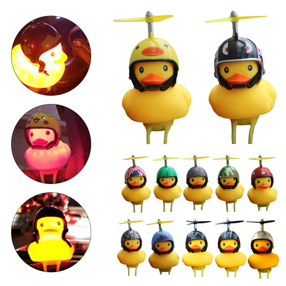 Lovely Cartoon Duck Helmet Silicone Ring Bike Bicycle Handlebar Bell Light Acc
