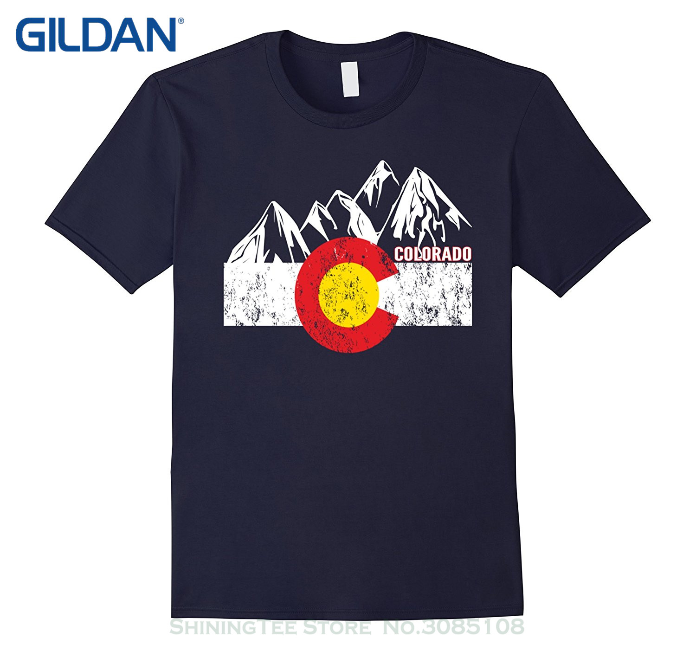 Short Sleeve Cotton T Shirts Man Clothing Colorado Flag ...