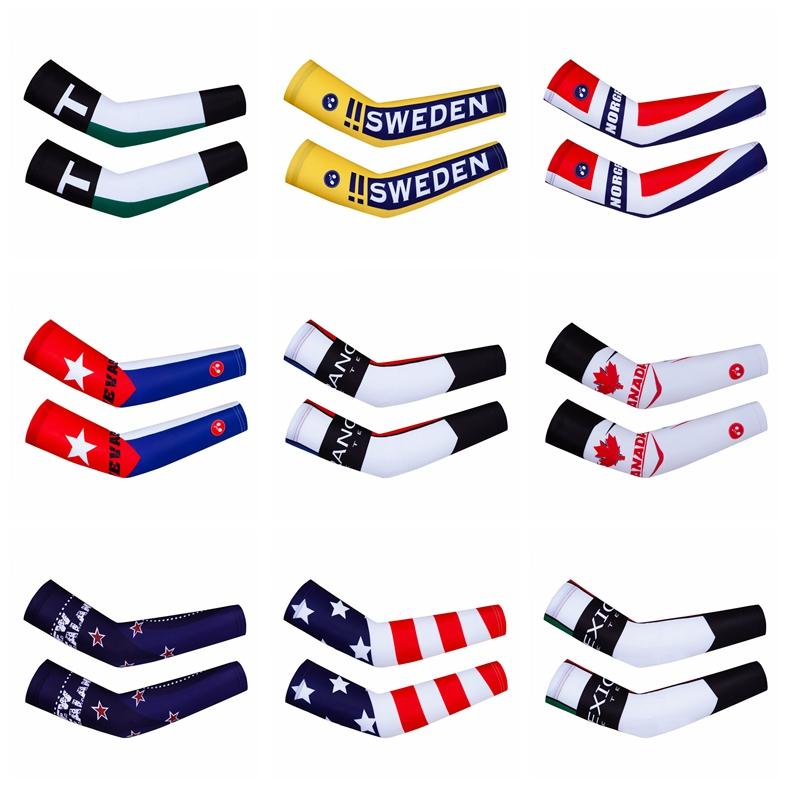 France UK Mexico Team Cycling Arm Warmers Racing Sport Arm Sleeve Mountain Bike Compression Arm Cover Running Cycling Cuff Cover