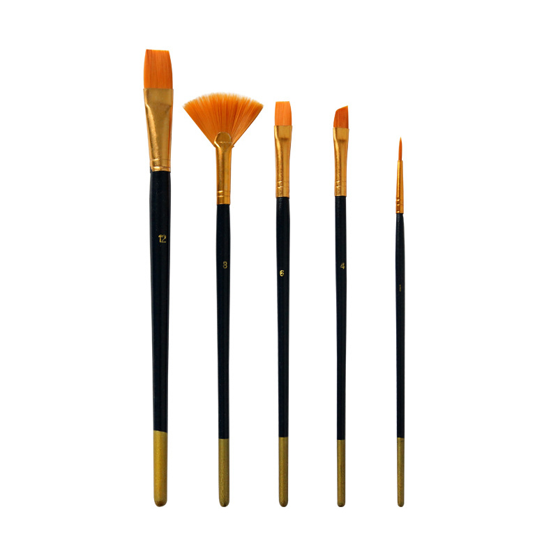 5Pcs/Set Multifunction Nylon Hair Painting Brush Blue Differnt Shape Professional Drawing Brushes Pen For Oil Paint Art Supplies
