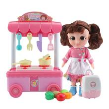 Kids Kitchen Toys Pretend Play Cooking Food Dolls Tableware Sets Baby Simulation Model Happy