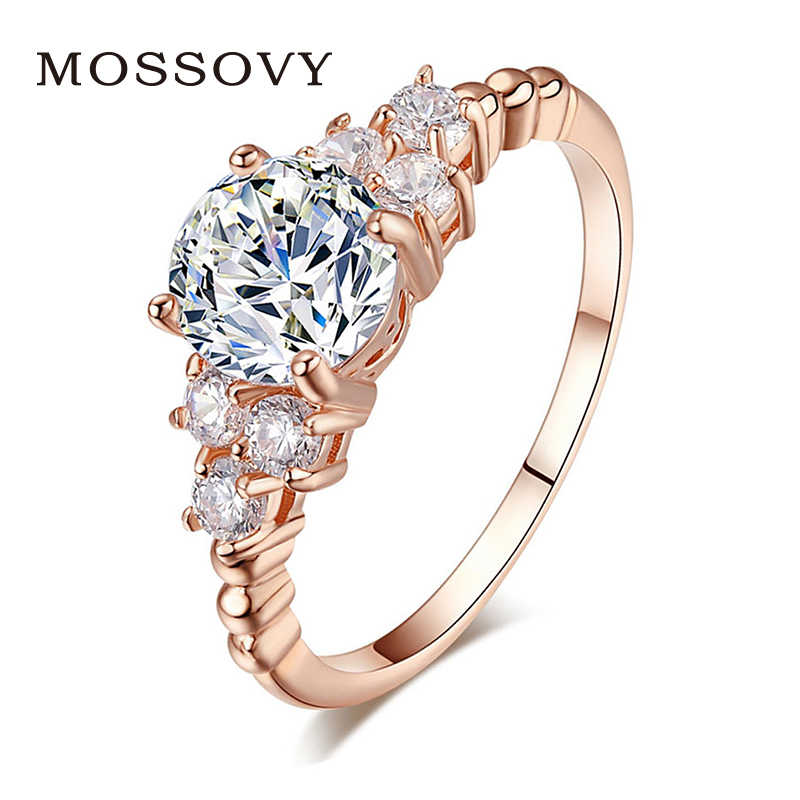 Mossovy Fashion Rhinestone Rose Gold Silver Wedding Ring for Female Fashion  Zircon Engagement Rings for Women 0d4cb11d9d34