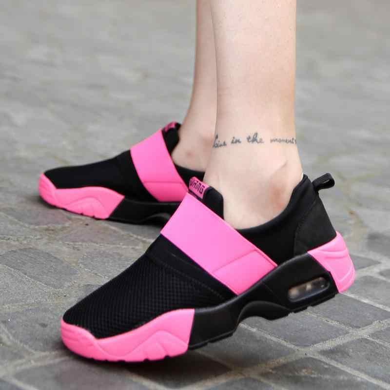 46ee09c6d Дизайнерские корейские черные и розовые кроссовки на платформе, женская  обувь, лето 2018, дышащая
