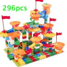 51-296 шт мраморный трек бегать лабиринт мяч трек строительные блоки кирпичи дети ABS пластиковые игрушки совместимый конструктор duplo
