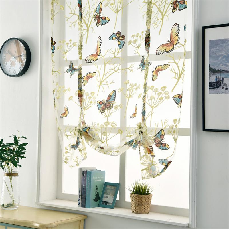 European Romantic Butterfly Pattern Curtain Short Bedroom Curtain For Living Room Kitchen Bathroom Curtain Home Decor Screens