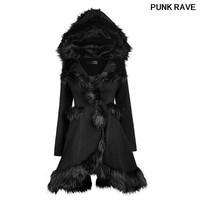 Gothic Women Fur Hooded Coat Lolita Style Autumn Winter Fashionable Black Warm Cute slim long Jacket Outerwear PUNK RAVE LY 056