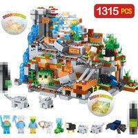 Technic Blocks Mountain Cave Creator Designer Compatible LegoINGLYS Minecrafted Village DIY Bricks Guard Toys For Boys