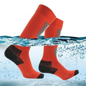 Image 1 - Randy sun caminhadas meias à prova dwaterproof água joelho alta respirável suor wicking homem mulher esportes ao ar livre pesca caça ciclismo meias