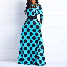 Wave Point Long Sleeve Contrast Color Maxi Dress недорого