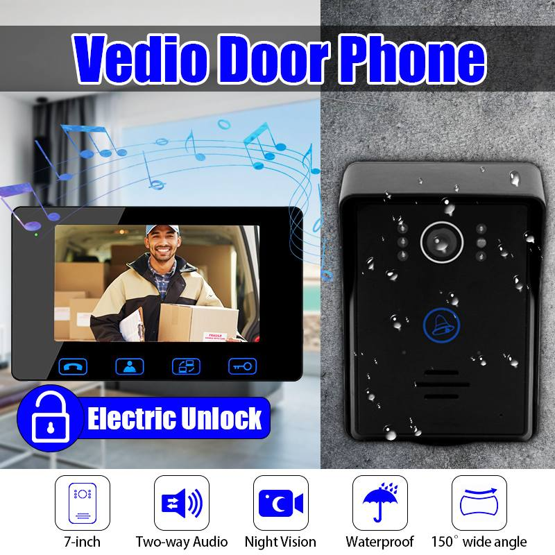 New 7-inch Colorful DoorBell Home Security System with Night Vision Video Door Doorbell Wires Video Intercom Monitor HD CameraNew 7-inch Colorful DoorBell Home Security System with Night Vision Video Door Doorbell Wires Video Intercom Monitor HD Camera